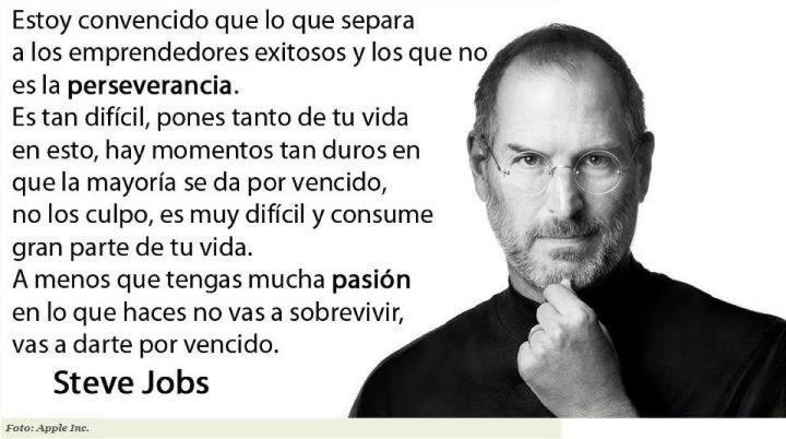 Una frase de Steve Jobs sobre emprendedores.