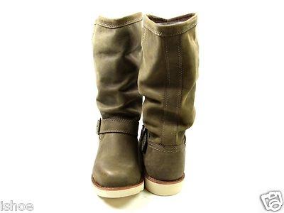 Womens Caterpillar CAT Claudette Brown Biker Slouch Flat Leather Boots Size 3 8 | eBay