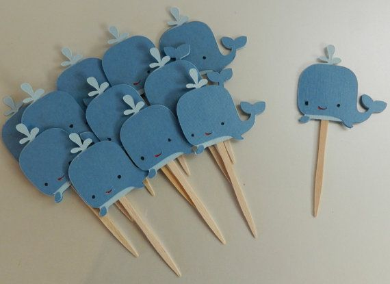 Whale Cupcake Toppers by SweetSambolina on Etsy, $8.95