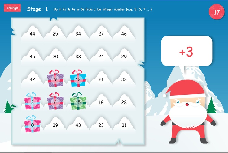 Follow the number sequence to collect presents. The popular 12 Games of Christmas are now free on TES iboard. Follow either the addition or subtraction sequence to collect all the presents. The next present will always be adjacent to the previous one. Different levels extend this game into harder sequences or include negative numbers