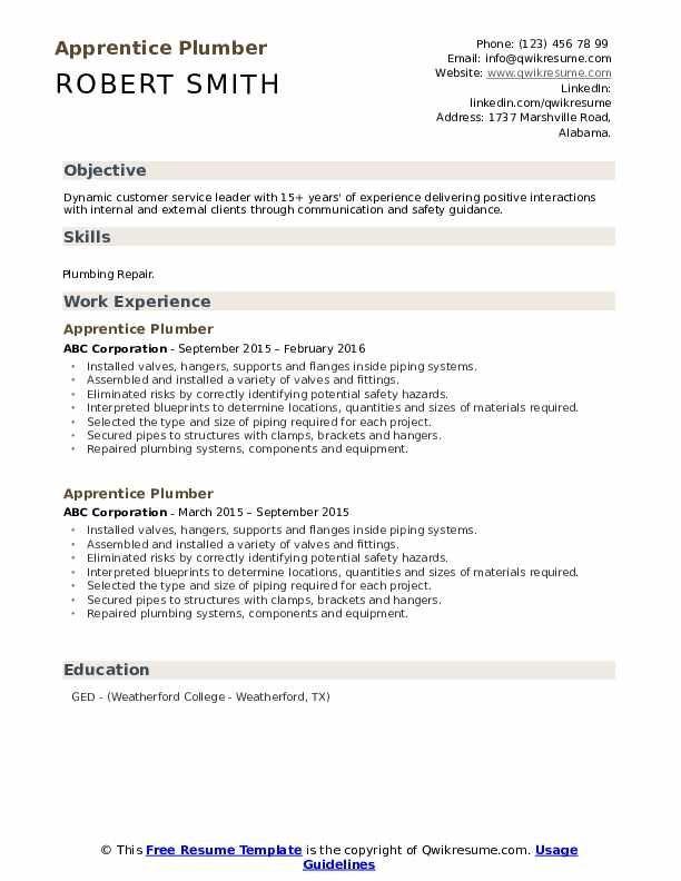 Apprentice Plumber Resume Samples Qwikresume Resume Template Resume Resume Design Template