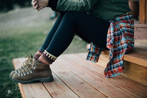 With Grace & Guts outdoor fashion camping outfits love the socks and the plaid!