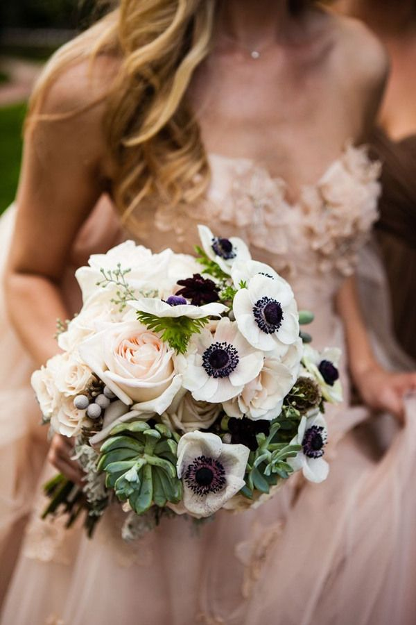 gorgeous fall wedding bouquets filled with anemone and succulent