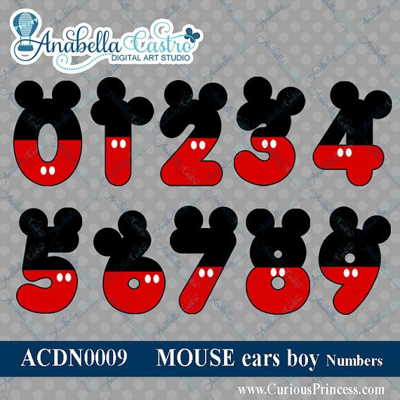 INSTANT DOWNLOAD Mickey Mouse inspired clipart numbers clip art for scrapbooking or invitations with ears in red black on Etsy, $3.99