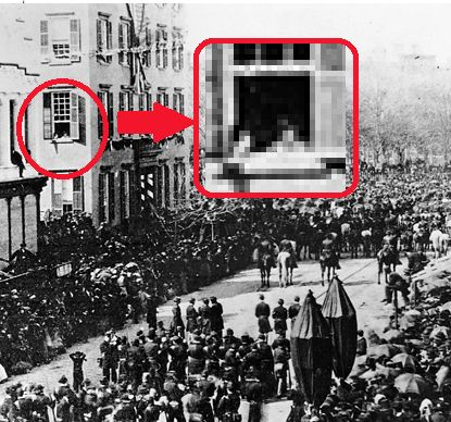 Abraham Lincoln's funeral procession in New York City, April 24th, 1865. The house on the left, on the corner of 14th St. and Broadway, is that of Cornelius Roosevelt, and the 2 young boys looking out of the window are Teddy Roosevelt and his brother Elliott,