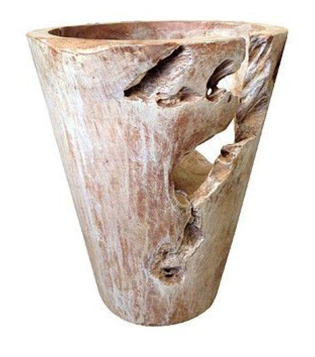 Erosie pot hout wit (8006)  #Decoratie #Pakhuis3 #Vaas