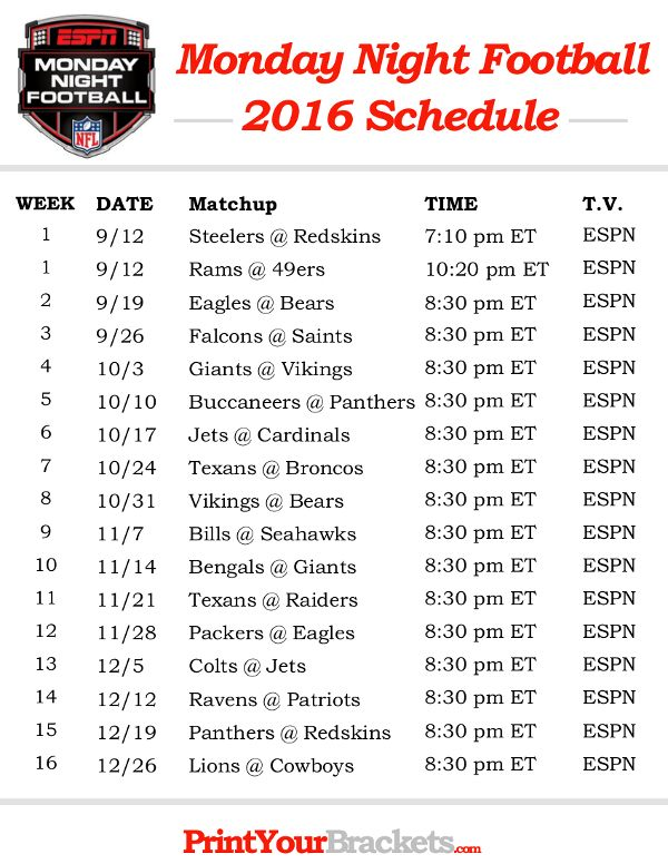 NFL Monday Night Football Schedule 2016 - Printable