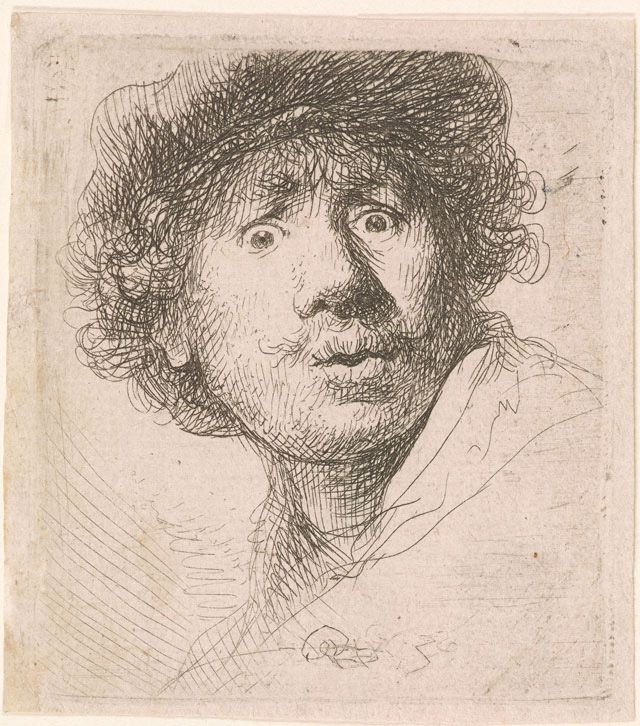 """Rembrandt Harmenszoon van Rijn, """"Self Portrait in a Cap, Open-Mouthed"""" (1630), etching, 51 x 46 mm"""