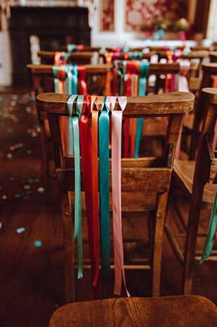 ribbon wedding chair decor | www.onefabday.com                                                                                                                                                      More