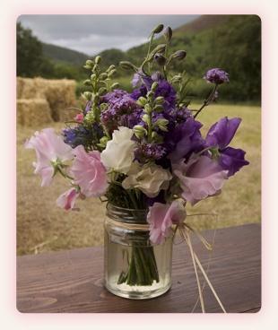 Table Flowers in jam jars