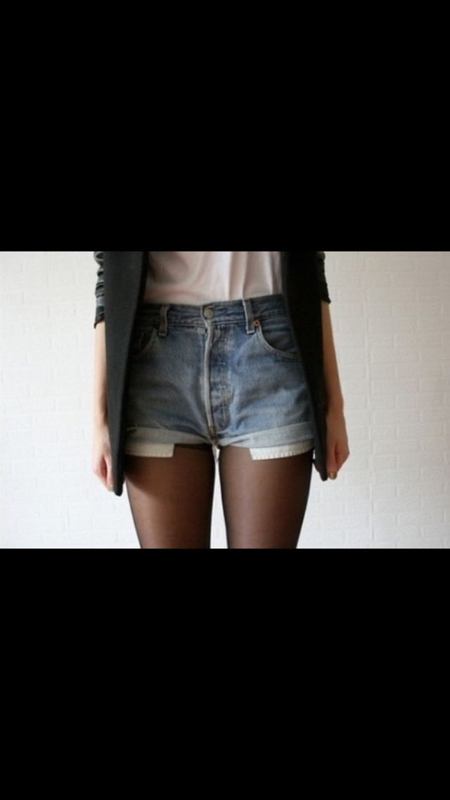 High waisted shorts, sheer tights, white flowy top, black ...