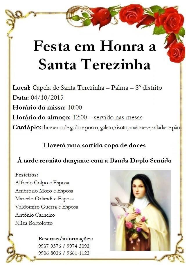 Convite para festa de Santa Terezinha, dia 04/10 :: Palma8SM.com