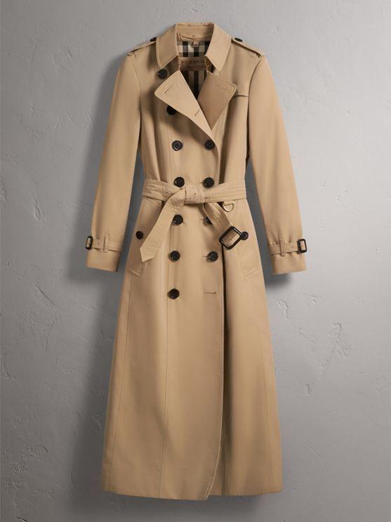 Long Cotton Gabardine Trench Coat in Honey - Women   Burberry - cell image 3