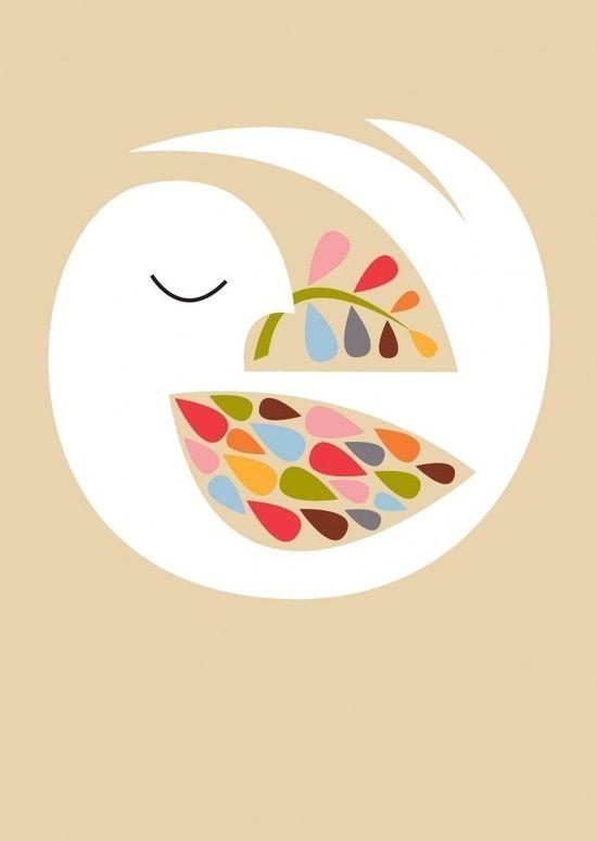 Bird of peace vintage illustration