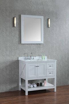 """Emily 36"""" Cottage Style Bathroom Vanity With Carrara Marble - Light Grey - beach-style - Bathroom Vanities And Sink Consoles - Ari Kitchen and Bath"""
