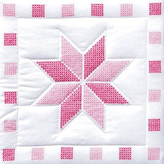 Add the perfect accent to your quilt with these fine-looking quilt blocks Quilting blocks showcase an attractive star pattern in shades of red and pink Completed quilt will make a great addition to an