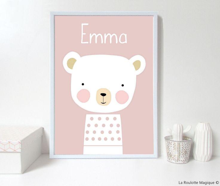Affiche personnalisée ours décoration chambre enfant la roulotte magique
