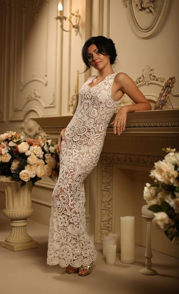 "White Crochet Evening Dress ""Angelica"" Boho Dress Bohemian White Floor Length Gown Hand Crocheted Dress"