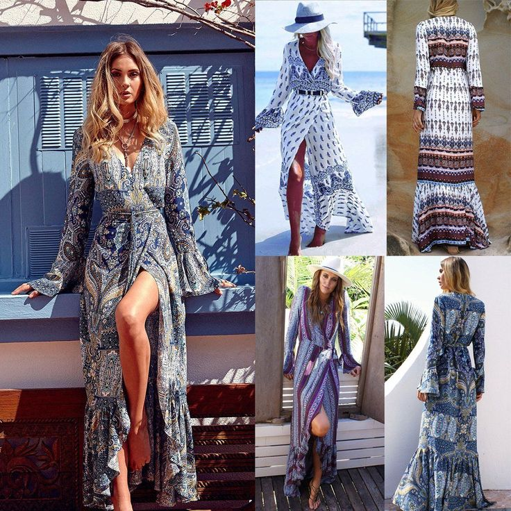 40 best ebay images on pinterest ethnic hand towels and towels vintage women summer boho long maxi evening party cocktail dress beach dresses gumiabroncs Choice Image