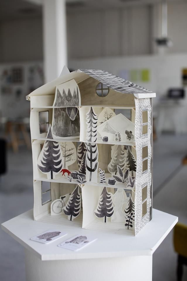 3D illustrated paper house by Emily Watkins #illustration