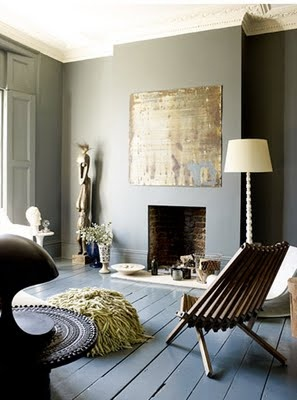 Dark Grey Living Room With Painted Floor The Gold Artwork And White Lamp Stand Out Beautifully Against Walls