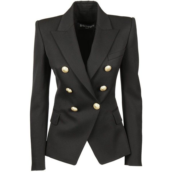 Balmain Double Breasted Blazer (1,865 CAD) ❤ liked on Polyvore featuring outerwear, jackets, blazers, black, double breasted jacket, double-breasted blazer, balmain blazer, blazer jacket and balmain jacket