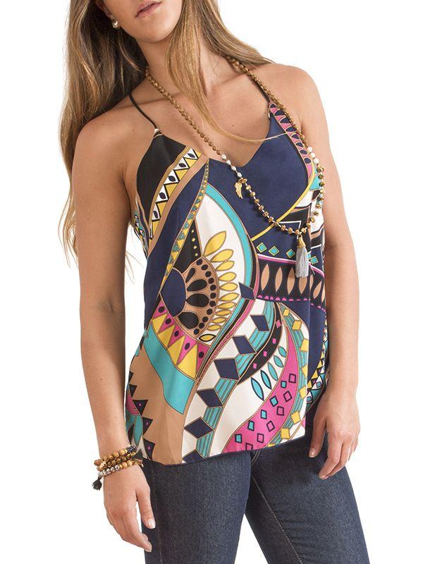 Blusa de tiritas con estampado multicolor #Top #Wapas212 #Blue #Print