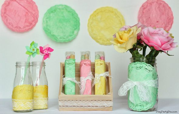 How To Dye Doilies - Pretty My Party #colored #doilies #DIY #crafts #Easter #spring