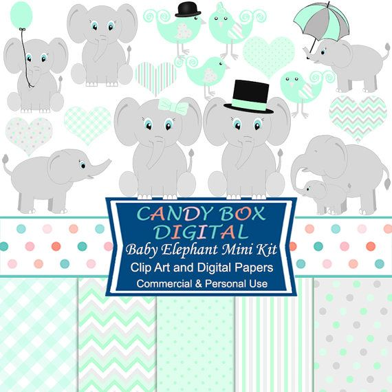 Mint Green Baby Elephant Mini-Kit with Clipart and Digital Papers by…