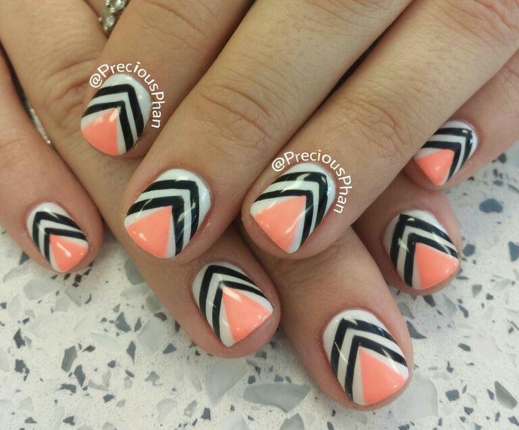 Coral chevron nails