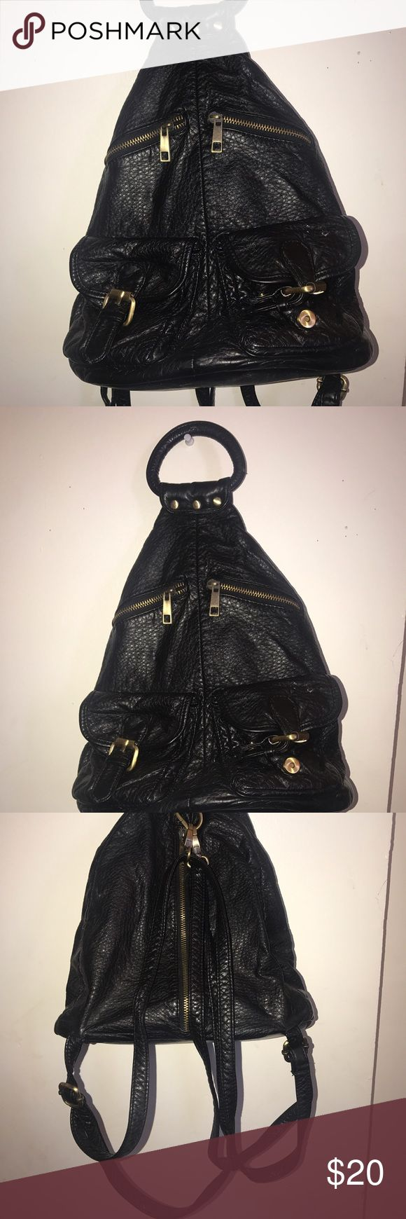 Backpack/purse Black vegan leather backpack, small. Great for festivals and concerts Bags Backpacks