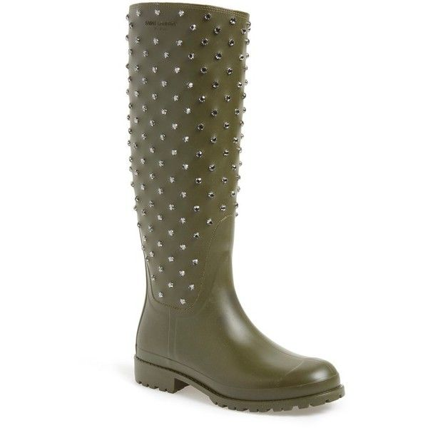 Saint Laurent 'Festival' Embellished Rain Boot (839,245 KRW) ❤ liked on Polyvore featuring shoes, boots, beige, wellington rubber boots, wellies boots, wellington boots, embellished boots e rubber rain boots