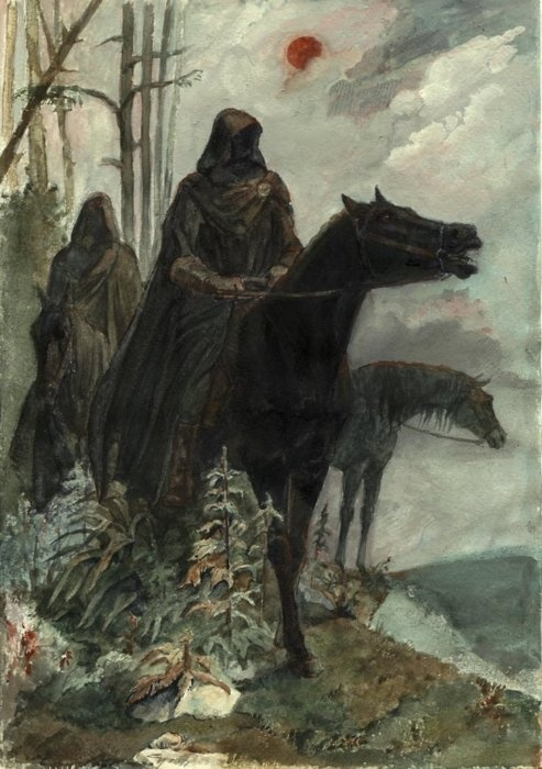 The Nazgul.  Called the Ulair in the tongue of the elves, these nine once bore Rings of Power.  But they could not see the Enemy for what He was.  Now they are His fingers, leeching foul darkness into Arda.