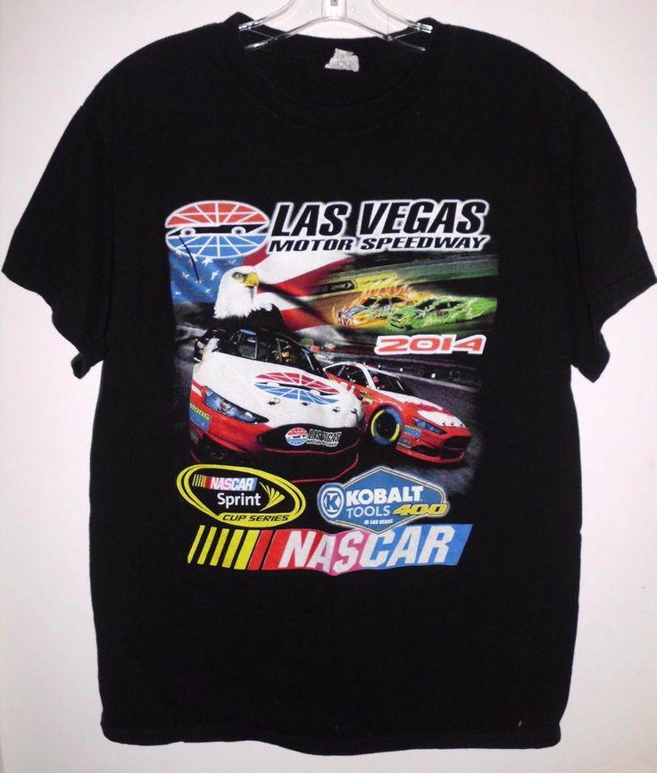2014 NASCAR Las Vegas Motor Speedway Black Racing T-Shirt by Alstyle Sz M Men's #Alstyle