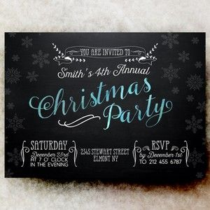 Christmas Party Invitation - Chalkboard Christmas invitation, Blue black Christmas invitation