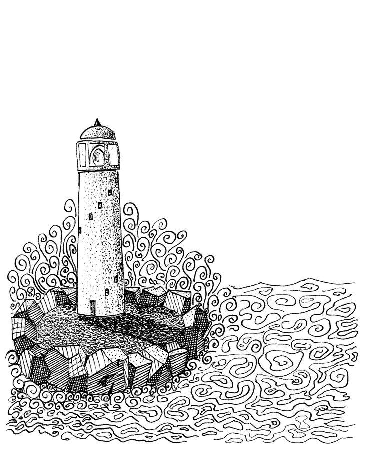 Waves crashing on Lighthouse doodle by Rob Stevenson week 4 felt pen