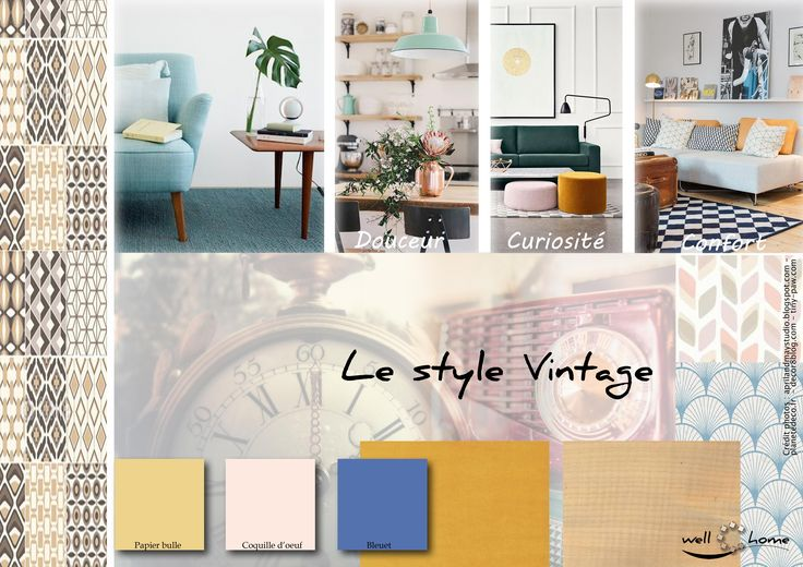 Déco, planche d'ambiance, tendance, style vintage, réalisation well-c-home