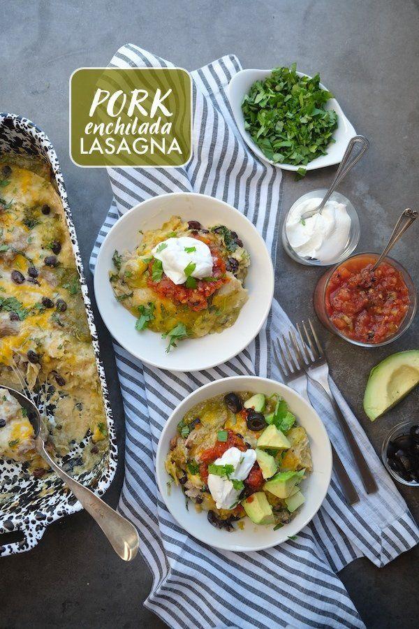 Pork Enchilada Lasagna @FoodBlogs