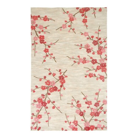 "I pinned this Cherry Blossom Rug from the Bold & Contemporary Rugs event at Joss and Main! $105 for a 3'6"" X 5'6""  This is my guest bathroom inspiration piece. A light grey on the walls, deep red towels, cream or brown accessories, shower curtain the same color as the wall, and mounted right up to the ceiling on a track, I may even paint the ceiling"