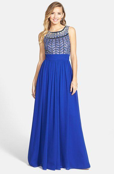 JS Collections Embellished Chiffon Gown   Nordstrom Prom royal blue long dress