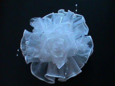 Пышный цветок из органзы./ Бант на 1 сентября./ KANZASHI./ МК. - YouTube