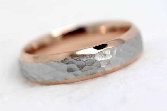 5 Mm Hammered Wedding Ring For Men Women Beveled Two Tone