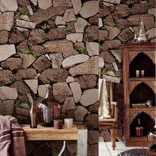 Grosso Natural Rústico pvc 3d Papel De Parede de Pedra Empilhada Parede Decorativo para Bar Imitação de Pedra Papel De Parede Texturizado Falso À Prova D' Água(China (Mainland))