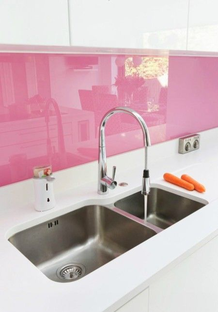 It is really easy to back-paint a backsplash (I did it) - and next time I might go pink