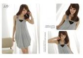 Modern Lady V-neck Sequins Shoulder Strap Silk Tank Dress and Black Tube Top 3 Colors