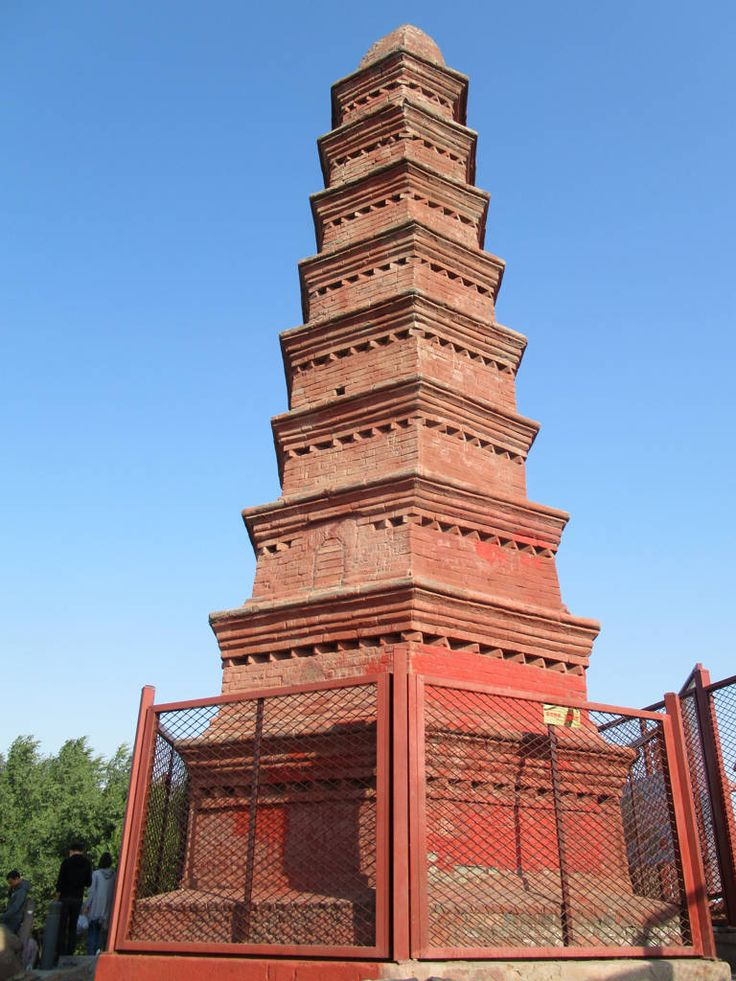 The nine-tier Zhenglong Pagoda (1788) in Hongshan (Red Hill) Park Urumqi, Xinjiang, China, was built in 1788 to appease a red dragon trying to flood the city.