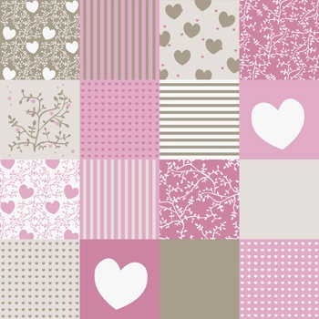 Patchwork Tapete Pink