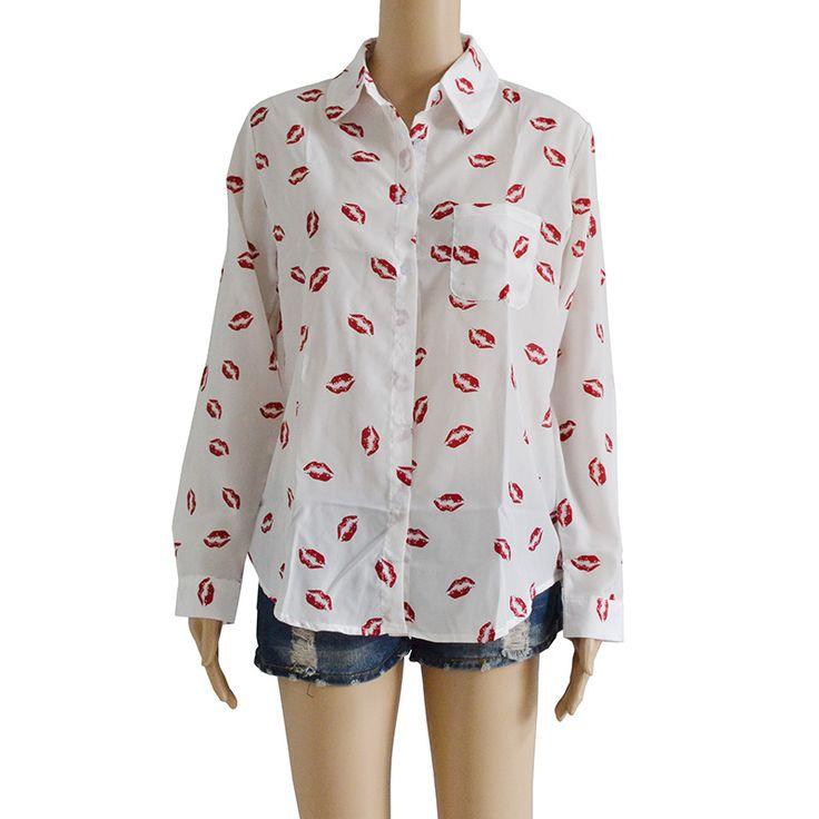 Encontrar Más Blusas y Camisas Información acerca de 2015 nuevo blanco mujeres soporte botón del cuello roja del labio imprimir chiffion blusa de manga larga, alta calidad blusa de invierno, China blusa larga Proveedores, barato blusa de los hombres de iFunDeal en Aliexpress.com