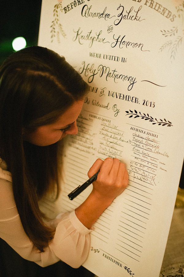 At a Quaker wedding, all the guests sign the marriage certificate as witnesses. I love this because it makes everyone a part of the wedding <3