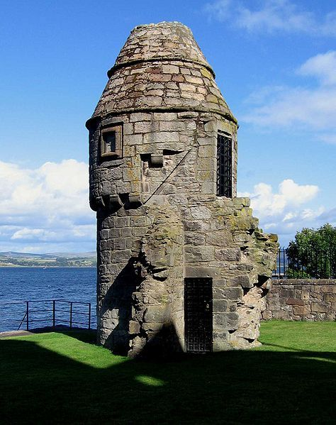 Doocot at Newark Castle, Port Glasgow, Scotland with the River Clyde in the background.